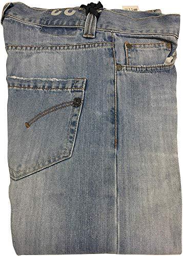 DONDUP Jeans Uomo Chiaro con Bottoni Modello UP008 Music Fondo cm 19 Made in Italy (34 - IT 48)
