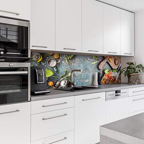 Dedeco Küchenrückwand Motiv: Obst & Gemüse V3, 3mm Acrylglas Plexiglas als Spritzschutz für die Küchenwand Wandschutz Dekowand wasserfest, 3D-Effekt, alle Untergründe, 220 x 60 cm