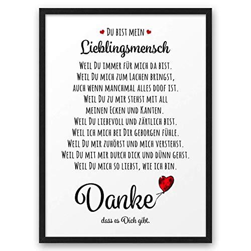 DANKE Liebeserklärung Danksagung ABOUKI Kunstdruck Poster Bild Geschenk-Idee für Sie Ihn Frauen Männer Freund Freundin Liebes-Paar ungerahmt DIN A4