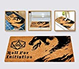 Roll for Initiative Welcome Mat Brown Coir Funny Doormat Printed with Dragon and D20 Roleplaying Tabletop RPG Gaming Non-Slip Backing Door Mat, 30
