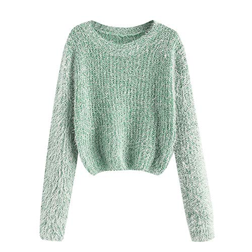ZAFUL Women's Fuzzy Fluffy Long Sleeve Heathered Knit Pullover Sweater Jumper (D-Apricot)