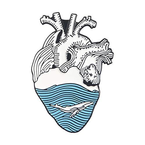 WEIXIAO WLKH Joyería órgano del Esmalte del corazón Pin Estrellado corazón Valiente Gatos sanguinario Hug broches de Ropa Bolsa Pin de la Solapa la Insignia médica del Doctor Gift