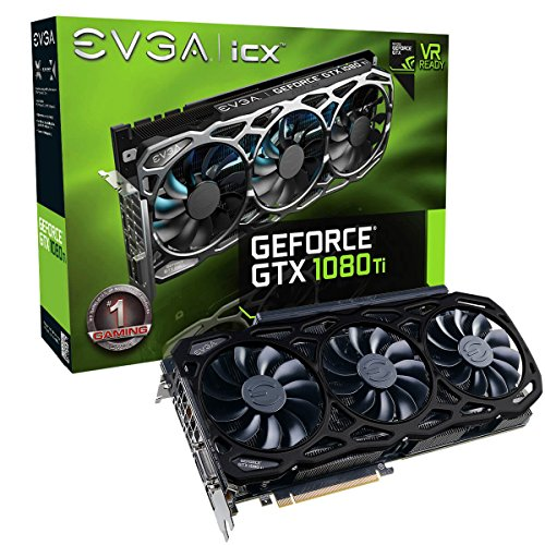EVGA GeForce GTX 1080 Ti FTW3 Elite Gaming Black 11GB 12GHz GDDR5X iCX Technology - 9 Thermal Sensors & RGB LED G/P/M Graphic Cards 11G-P4-6797-K2