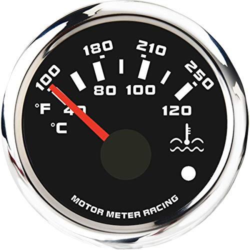 MOTOR METER RACING W Pro Water Temperature Gauge Warning Waterproof Included Sensor Black Dial White LED
