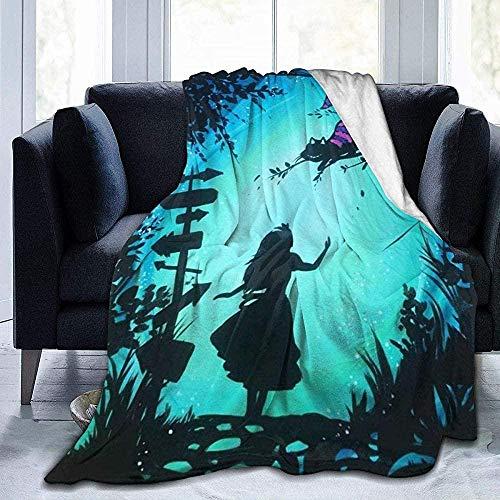 XZHYMJ Ultra-soft fleece blanket Super-soft hypoallergenic plush sofa bed Living room Alice in Wonderland