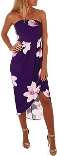 FAPIZI Women Vintage Printed Sleeveless Backless Summer Casual Strapless Sundress Beach Side Slit Dress