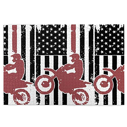 """1000 Pieces American Flag Dirt Bike Jigsaw Puzzle,Fun Educational Toy For Kids Ages 12,Teens,Adults & Families.Educational Games Home Decoration Puzzle,Size 29.5"""" X 19.7"""""""