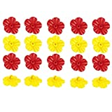 20 Pieces Hummingbird Feeder Replacement Flowers, Feeding Ports and Feeder Parts Replacement for Hummingbird Hanging Feeder ( Red, Yellow )