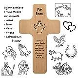 Holzkreuz mit individueller Gravur - personalisiert mit Name, Spruch, Motiv - Holz Kruzifix als...
