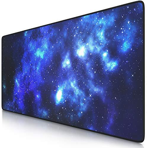 TITANWOLF – Tappetino per Mouse Oversize 900x400mm – Mousepad XXL con Stampa - Tappeto Extralarge – per precisione + velocità – per Mouse e Tastiera - Blue Stars