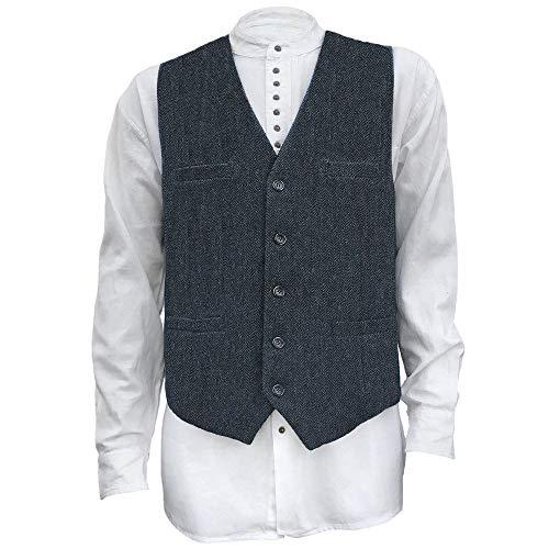 Men's Irish Full Back Herringbone Tweed Wool Blend Vest in 3 Traditional Color Choices (Navy, L)