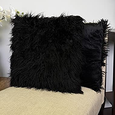 Sweet Home Collection 2PK Mongolian Long Hair Decorative 18  x 18  Throw Pillow, Black, 2 Piece