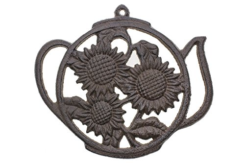 Cast Iron Trivet | Round with Sunflowers And Tea Pot | Decorative Cast Iron Trivet For Kitchen Or Dining Table | 7.7 x 6.7"