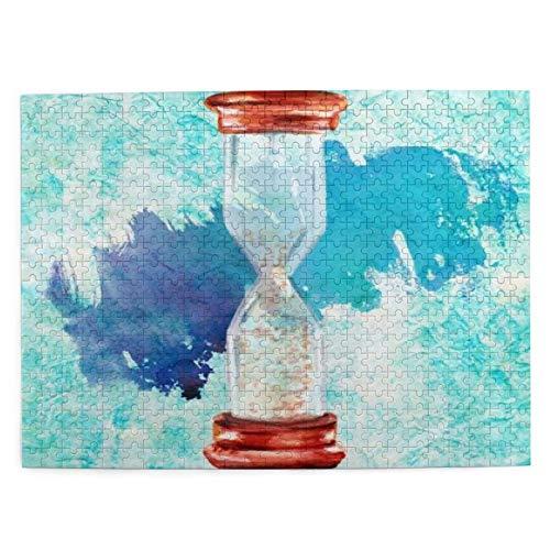 HASENCIV 500 Piezas Rompecabezas Rompecabezas Reloj Acuarela Dibujo Reloj Arena Vintage Arena Finanzas Antiguo Color Color Familia Educativo Intelectual Descompresión Diversión para Adultos