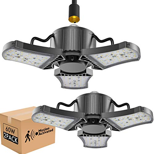 bulbeats Motion Activated LED Garage Light Bulb with 3 Adjustable Panel 60W (Eqv 200W) 6000LM 5000K Garage Ceiling Led Bulb for Workshop , Garage (2 Pack)