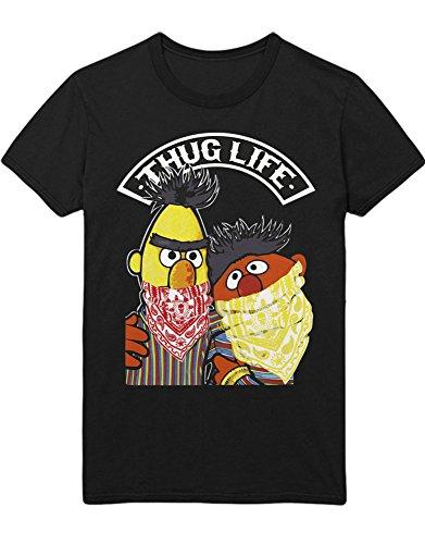 T-Shirt Sesam Straße Ernie Und Bert Thug Life C497342 Schwarz L