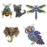 TsunNee Broche de cristal de elefante, broche de boda, broche de bufanda con diamantes de imitación, insignia de disfraz, diseño de búho de abejorro de abejorro gato libélula broche, 5 unidades