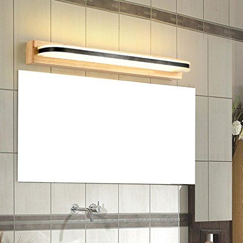 LED-Spiegel vorne Lampe Bad Wandleuchte Kleider Tischlampe kreative Massivholz Spiegel Schrank Lichter (Farbe : Weißes Licht)