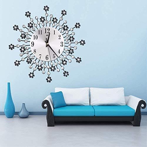 34.5cm Europese stijl smeedijzeren wandklok met bloemen en Diamanten, Mute Metal Quartz wandklok in de woonkamer en slaapkamer, Zwart, Kleur: Zwart (Color : Black)