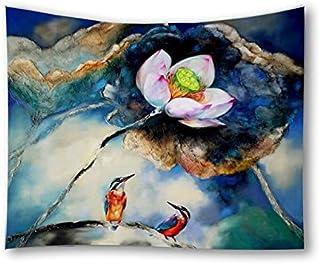 Lotus Flower Birds Printed Home Decorative Tapestry Wall Hanging Beach Towel Blanket Pincic Yoga Mat for Living Room Bedro...