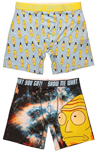 RICK AND MORTY Mens Boxer Breif 2pack, Cromulon and Mr Poopy Butthole, Large