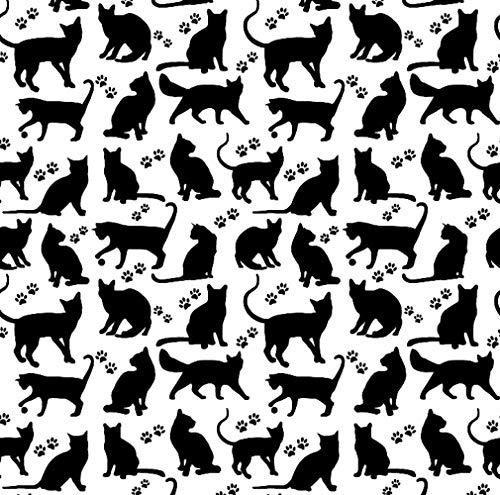 Pingianer Tela de algodón 100 % para niños, por metros, artesanía, costura (silueta de gato, color blanco y negro, 100 x 160 cm)