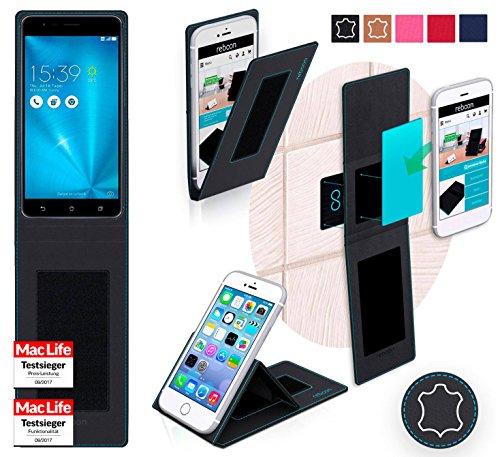 Hülle für Asus ZenFone Zoom S Tasche Cover Hülle Bumper | Schwarz Leder | Testsieger