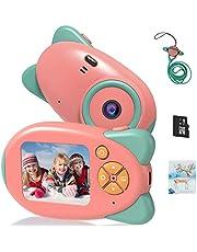 Vannico camera voor kinderen, met 16 GB TF-kaart, oplaadbare digitale camera voor kinderen, 2.0 HD inch-scherm, 24 cartoon fotolijsten, 3 tot 10 jaar jongens meisjes
