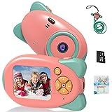 Vannico Camara de Fotos para Niños, Camara para Niños Cámara Digital 1080P HD Video Niña 3-10 Años16GB Tarjeta SD y Acollador (Rosa)