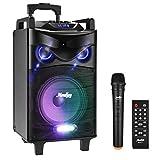 Moukey PAセット カラオケシステム ポータブルスピーカー カラオケマシン 最大出力520W 10インチサブウーファー BT対応 充電式 VHFマイクロホン カラオケセット 録音MP3/USB/SD/FM放送 (単マイク) MTs10-1