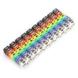 Marcador de cable, número digital Etiqueta de número de cable de tubo Marcador de cable de tubo colorido para identificar el cable fácilmente(100 piezas KCM-6MM 6 cuadrados)