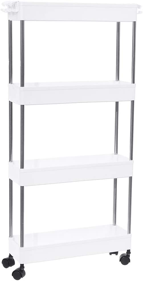 Modern Home 4 Tier Narrow Sliding Storage Organizer Rack - Laundry/Bathroom/Kitchen Rolling Cart (White)