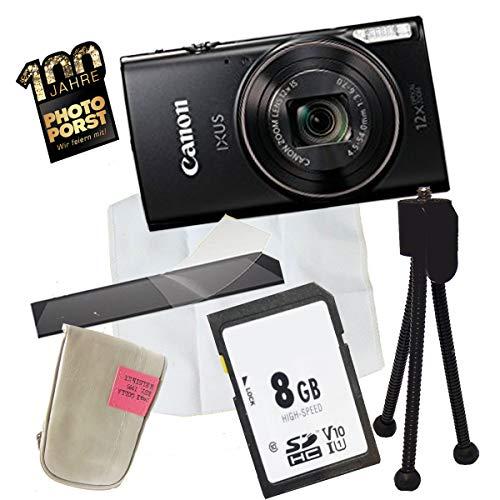1A PHOTO PORST Jubiläums Angebot Canon Ixus 285 HS Schwarz+Ministativ+Display-Schutzfolie+SD 8 GB Speicherkarte+Tasche+Mikrofasertuch