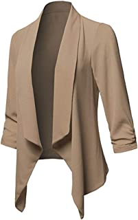 Zimaes-Women Capes 3//4 Bell Sleeve Mesh Shrug Open Front Bolero Cardigan