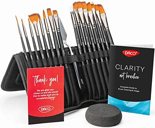 DACO Paint Brushes Clarity, Artist Paint Brush Set of 15pcs+1 with Palette Knife, Paint Sponge and Pop-up Organizing Case, Suitable for Acrylic Paint, Watercolor Paint, Oil Paint and Gouache Paint