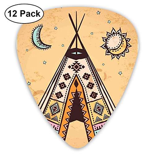 Gitaar Picks12pcs Plectrum (0.46mm-0.96mm), Etnische Tent Met Oude Symbolen Culturele Unieke Boheemse Vrije Geest Design,Voor Uw Gitaar of Ukulele