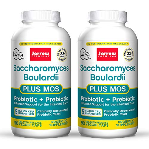 Jarrow Formulas Saccharomyces Boulardii + MOS - 5 Billion Organisms/Serving - 90 Delayed Release Veggie Caps, Pack of 2 - Probiotic + Prebiotic - Intestinal Tract Support - Up to 180 Total Servings