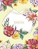 Dacia: Personalized Notebook with Name in a Heart Frame. Customized Journal with Floral Cover. Narrow Lined (College Ruled) Notepad for Women and Girls