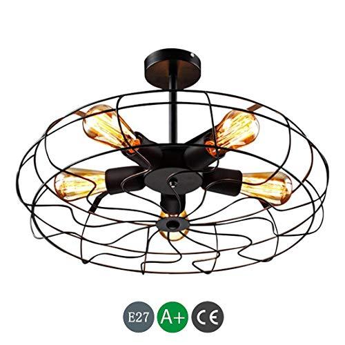 Industriële plafondlamp in vintage-stijl inbouw-plafondventilator plafondlamp hanglamp van metaal met 5 lampen E27 gloeilamp zwarte binnenlamp retro loft-slaapkamer-balkon