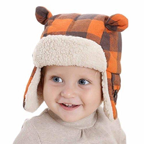Aivtalk Baby Kids Boys Grid Ears Children's Wind Snow Caps Hat Autumn and Winter Orange - M