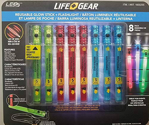 Reusable Glow Stick and Flashlight Combo, 6-in-1 Multi Use Flashlight with Emergency Whistle