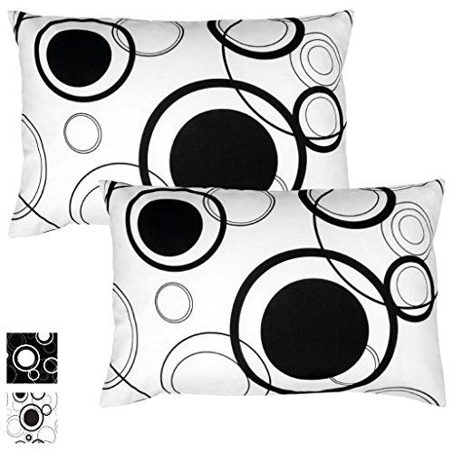 Kissenhülle Kissenbezug Zierkissen Malisa 2er Pack Auswahl: 40x60cm Kissenhülle Weiß mit schwarzen Kreisen