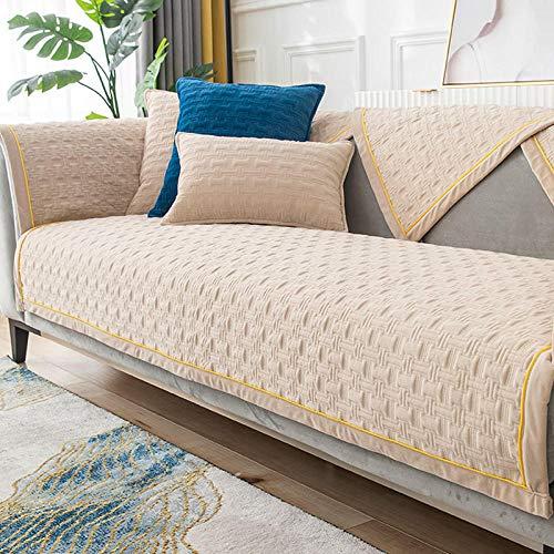 HXTSWGS Cojín de Felpa para sofá, cojín Acolchado de Invierno, Funda de sofá de Tela Antideslizante, Beige 2_70 * 180cm