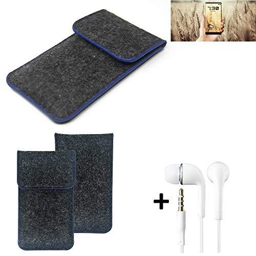 K-S-Trade Filz Schutz Hülle Für Allview X4 Soul Infinity N Schutzhülle Filztasche Pouch Tasche Handyhülle Filzhülle Dunkelgrau, Blauer Rand Rand + Kopfhörer