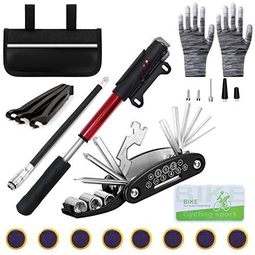 Fahrrad-Multitool,16 in 1Fahrrad Reparatur Set,Fahrradwerkzeug Tool,Fahrrad-Multitool Set,Fahrradflickzeug Reparaturset,Fahrrad Flickzeug mit Tasche,Bike Repair Kit für Home Reisen Outdoor Camping