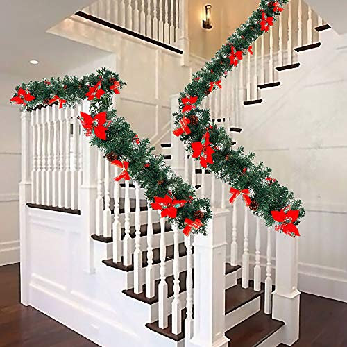 summerkimy 6ft Christmas Garland Decoration for Stairs Fireplace Christmas Decoration Snow Flocked with Cones and Berries Bow Flowers Artificial Pine Garland Wreath Xmas (180CM)