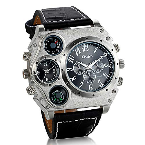 Jewelrywe Reloj Ronda Geniales Pantalla Brújula Termómetro Dual Time Dial (Negro).Regalos para Navidad para Hombre