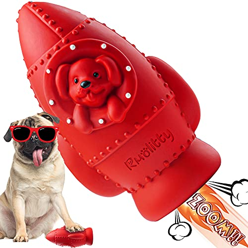 Rmolitty Squeaky Dog Toys forAggressiveChewers, Interactive Tough Dog Toys for Teeth Cleaning, Indestructible Rocket-Shaped Dog Chew Toys for Medium and Large Breeds