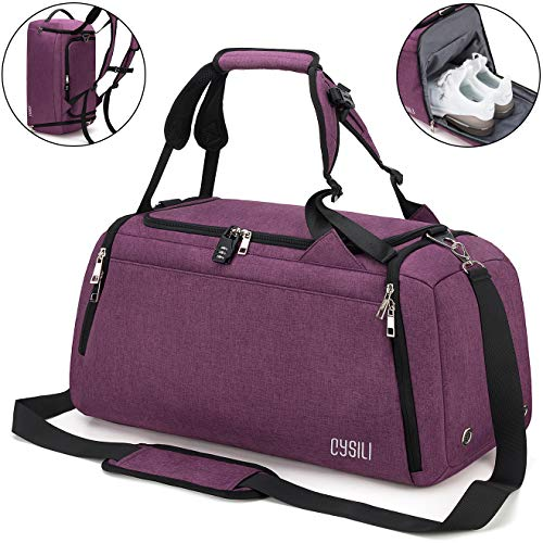 CySILI Sports Duffle Bag with Shoes Compartment and Wet Pocket, Gym Bag for Men and Women, Durable Travel Duffel Bag with Shoulder Strap and Combination Lock (Purple)
