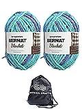 Bernat Knitting Yarn Blanket Big Ball Ocean Shades 2-Skein Factory Pack (Same Dyelot) 161110-10776 Bundle with 1 Artsiga Crafts Project Bag